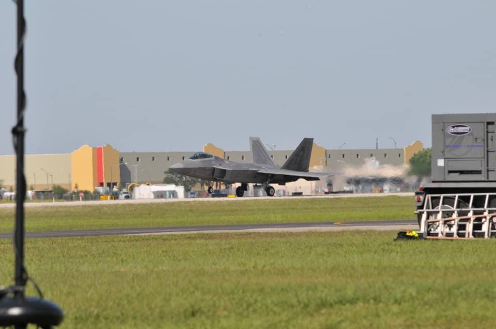Sun n Fun Jet landing in front of Drane Field Road warehouse