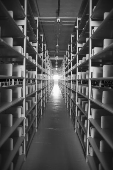 Interior of a factory with storage space