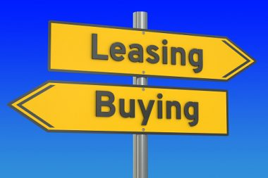 leasing or buying concept on the road signpost, 3D rendering